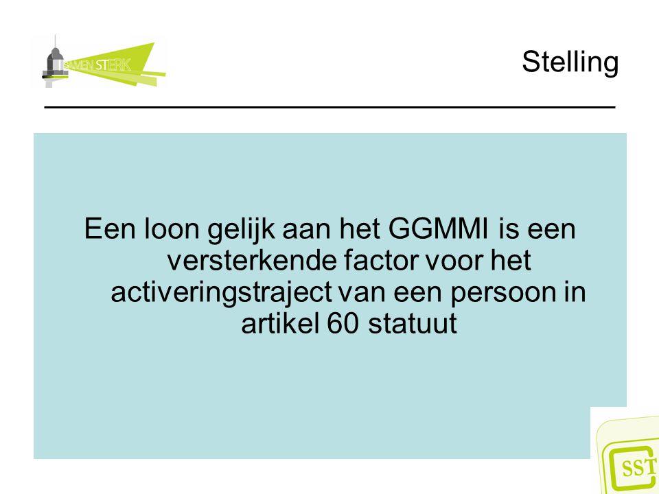 Stelling Een loon gelijk aan het GGMMI is een versterkende factor voor het activeringstraject van een persoon in artikel 60 statuut
