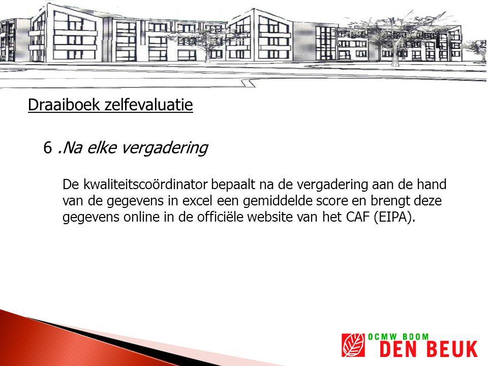 6.Na elke vergadering De kwaliteitscoördinator bepaalt na de vergadering aan de hand van de gegevens in excel een gemiddelde score en brengt deze gegevens online in de officiële website van het CAF (EIPA).