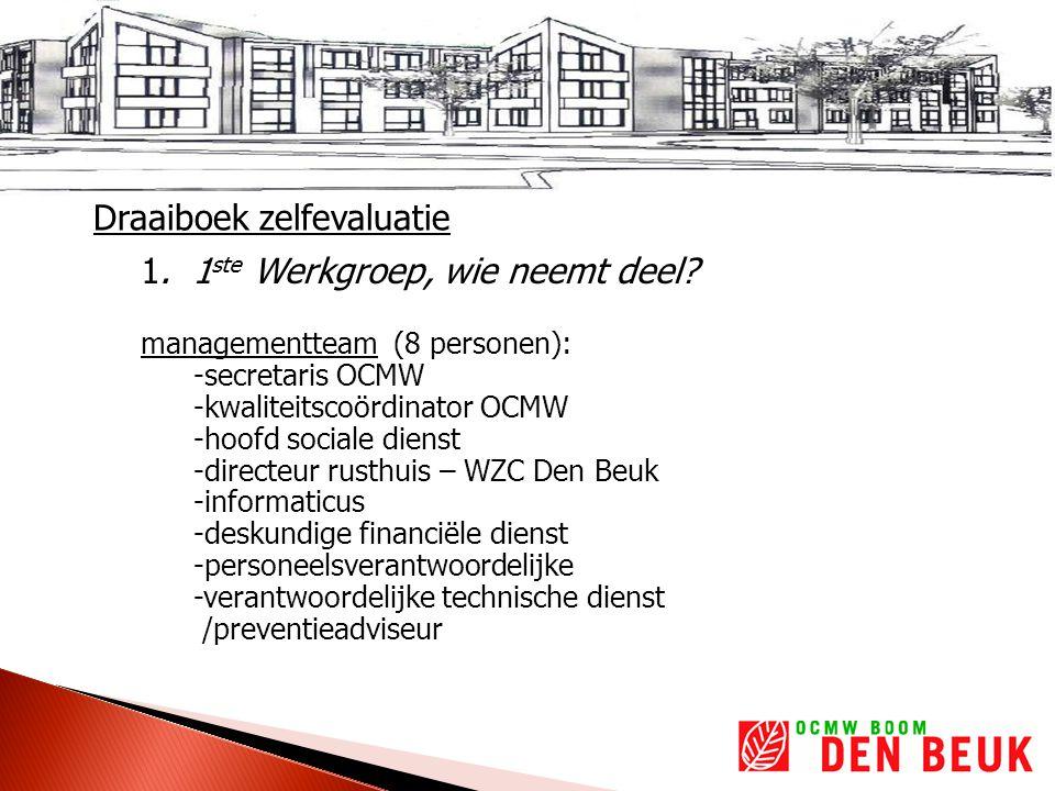 Draaiboek zelfevaluatie 1. 1 ste Werkgroep, wie neemt deel.