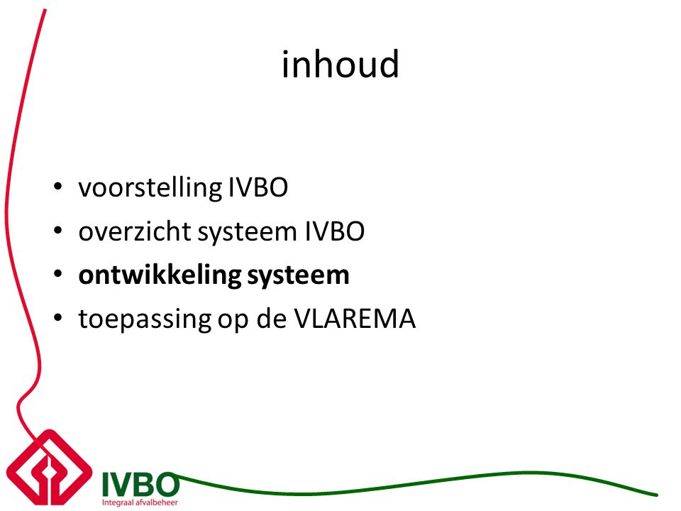 inhoud voorstelling IVBO overzicht systeem IVBO ontwikkeling systeem toepassing op de VLAREMA