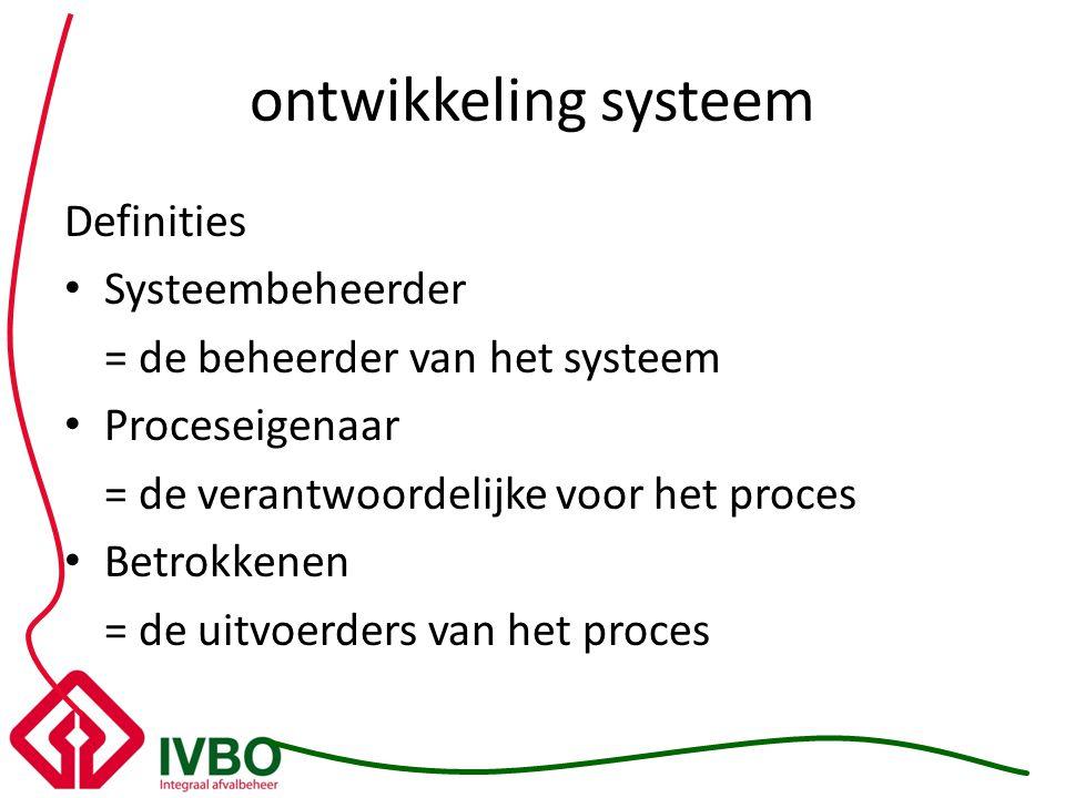 ontwikkeling systeem Definities Systeembeheerder = de beheerder van het systeem Proceseigenaar = de verantwoordelijke voor het proces Betrokkenen = de