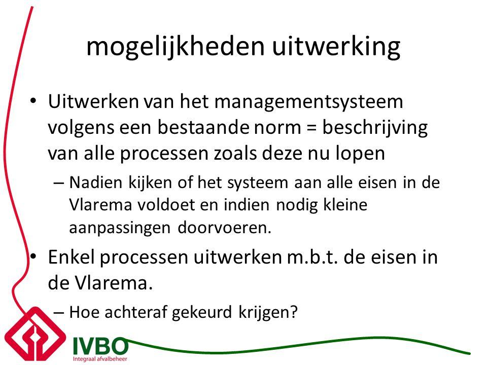 mogelijkheden uitwerking Uitwerken van het managementsysteem volgens een bestaande norm = beschrijving van alle processen zoals deze nu lopen – Nadien