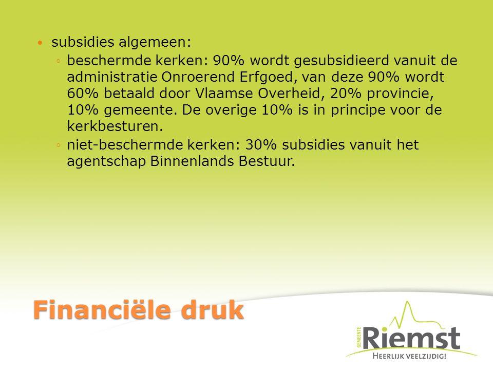 Financiële druk subsidies algemeen: ◦beschermde kerken: 90% wordt gesubsidieerd vanuit de administratie Onroerend Erfgoed, van deze 90% wordt 60% betaald door Vlaamse Overheid, 20% provincie, 10% gemeente.