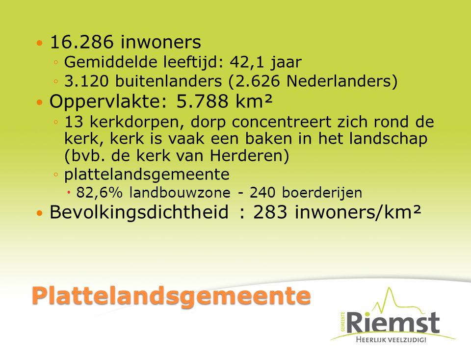 Plattelandsgemeente 16.286 inwoners ◦Gemiddelde leeftijd: 42,1 jaar ◦3.120 buitenlanders (2.626 Nederlanders) Oppervlakte: 5.788 km² ◦13 kerkdorpen, dorp concentreert zich rond de kerk, kerk is vaak een baken in het landschap (bvb.