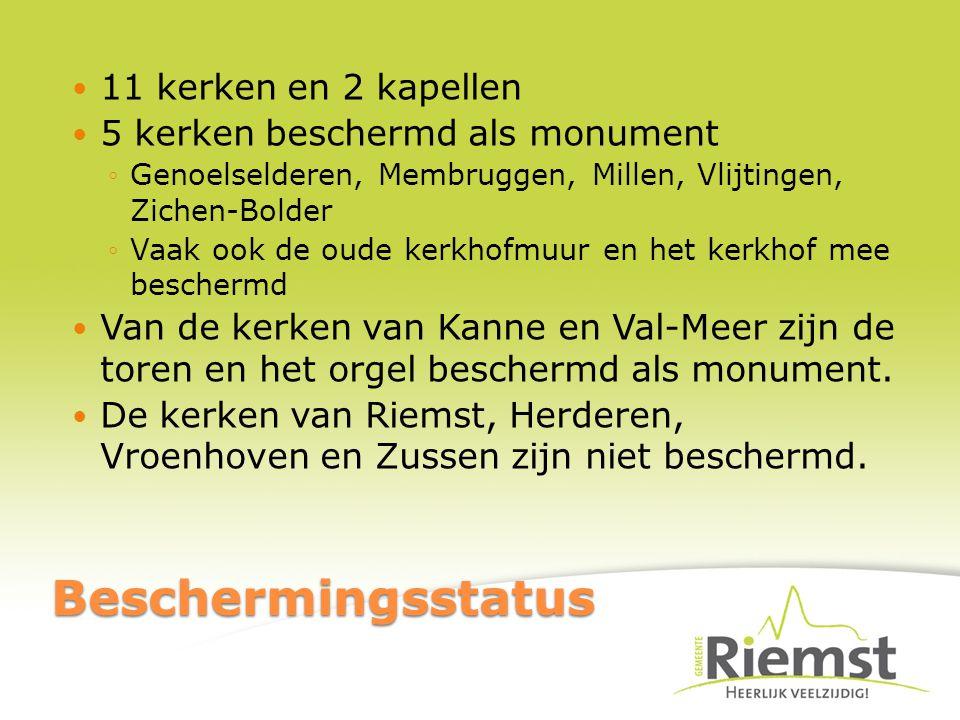 Beschermingsstatus 11 kerken en 2 kapellen 5 kerken beschermd als monument ◦Genoelselderen, Membruggen, Millen, Vlijtingen, Zichen-Bolder ◦Vaak ook de oude kerkhofmuur en het kerkhof mee beschermd Van de kerken van Kanne en Val-Meer zijn de toren en het orgel beschermd als monument.