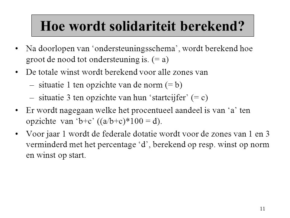 11 Hoe wordt solidariteit berekend.