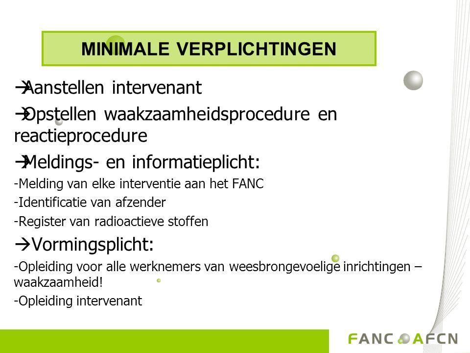  Aanstellen intervenant  Opstellen waakzaamheidsprocedure en reactieprocedure  Meldings- en informatieplicht: -Melding van elke interventie aan het