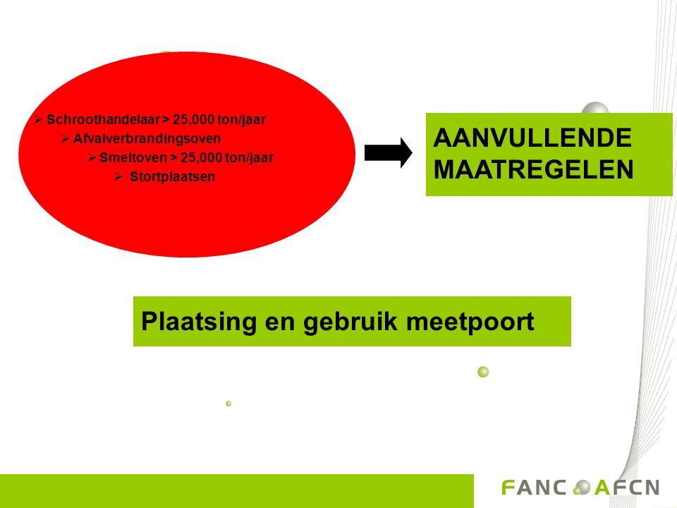  Schroothandelaar > 25,000 ton/jaar  Afvalverbrandingsoven  Smeltoven > 25,000 ton/jaar  Stortplaatsen AANVULLENDE MAATREGELEN Plaatsing en gebrui