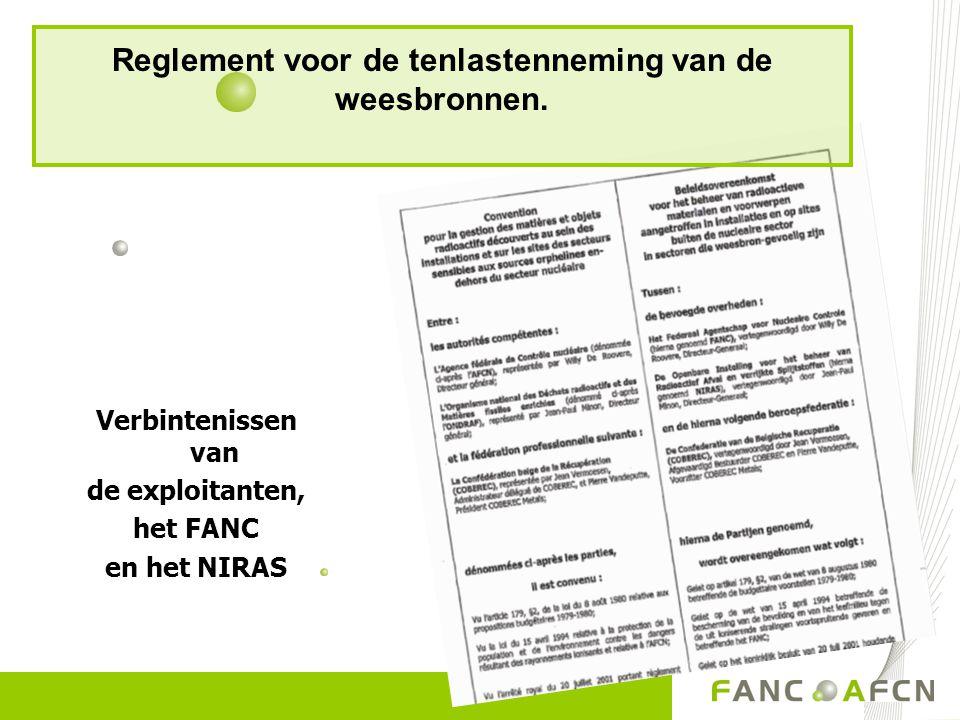 Reglement voor de tenlastenneming van de weesbronnen. Verbintenissen van de exploitanten, het FANC en het NIRAS