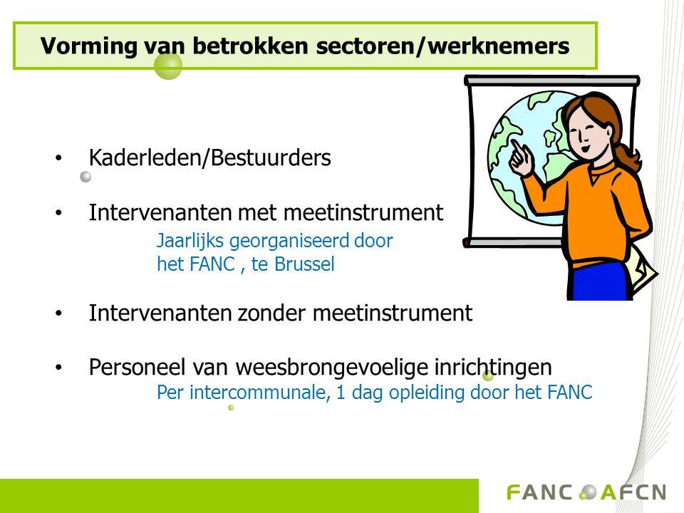 Kaderleden/Bestuurders Intervenanten met meetinstrument Jaarlijks georganiseerd door het FANC, te Brussel Intervenanten zonder meetinstrument Personee