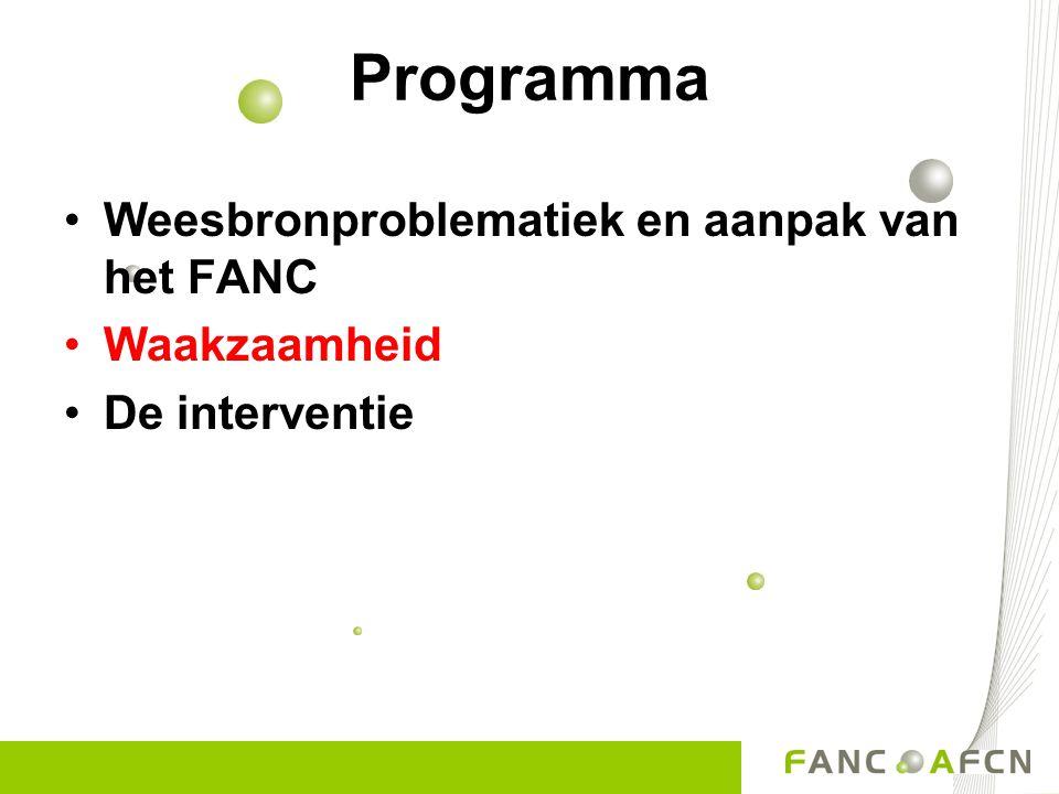 Programma Weesbronproblematiek en aanpak van het FANC Waakzaamheid De interventie