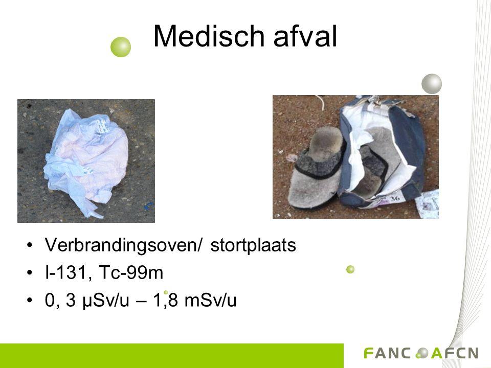 Medisch afval Verbrandingsoven/ stortplaats I-131, Tc-99m 0, 3 µSv/u – 1,8 mSv/u