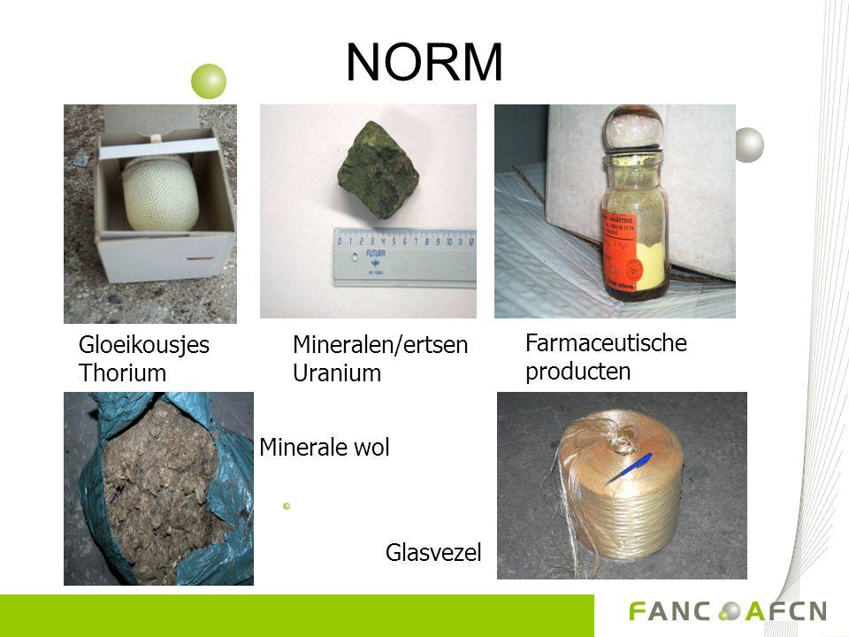 NORM Gloeikousjes Thorium Mineralen/ertsen Uranium Farmaceutische producten Minerale wol Glasvezel