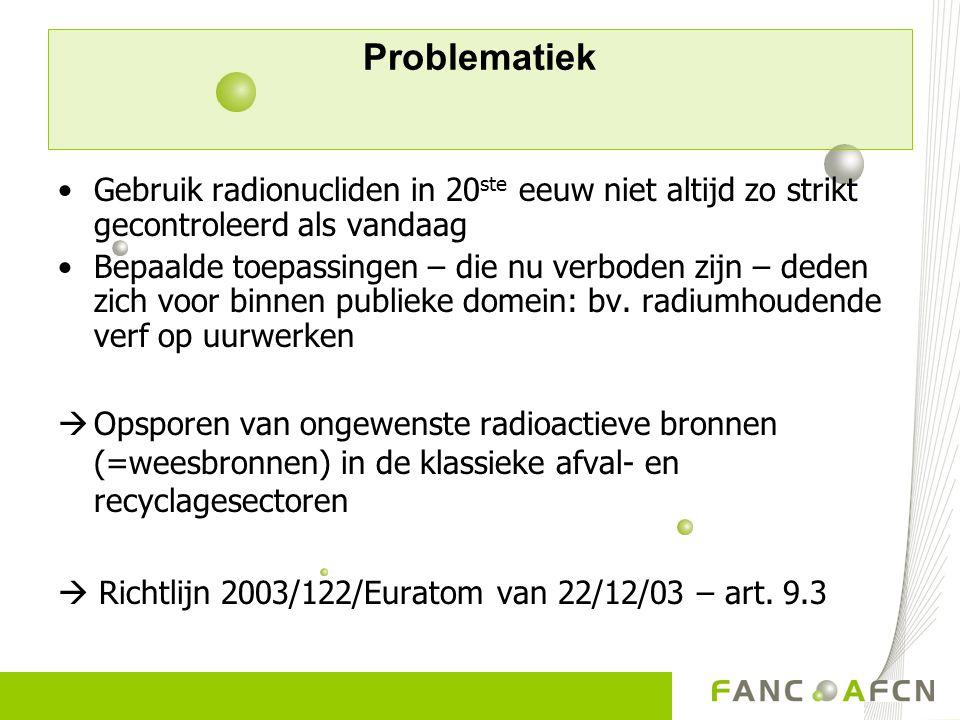 Problematiek Voorbeeld 1: Algericas (Sp) – 1998  Cs-137 bron in schroot  6 miljoen euro schade Voorbeeld 2: Cs-137 (51 TBq) in puin van afgebroken ziekenhuis  4 doden