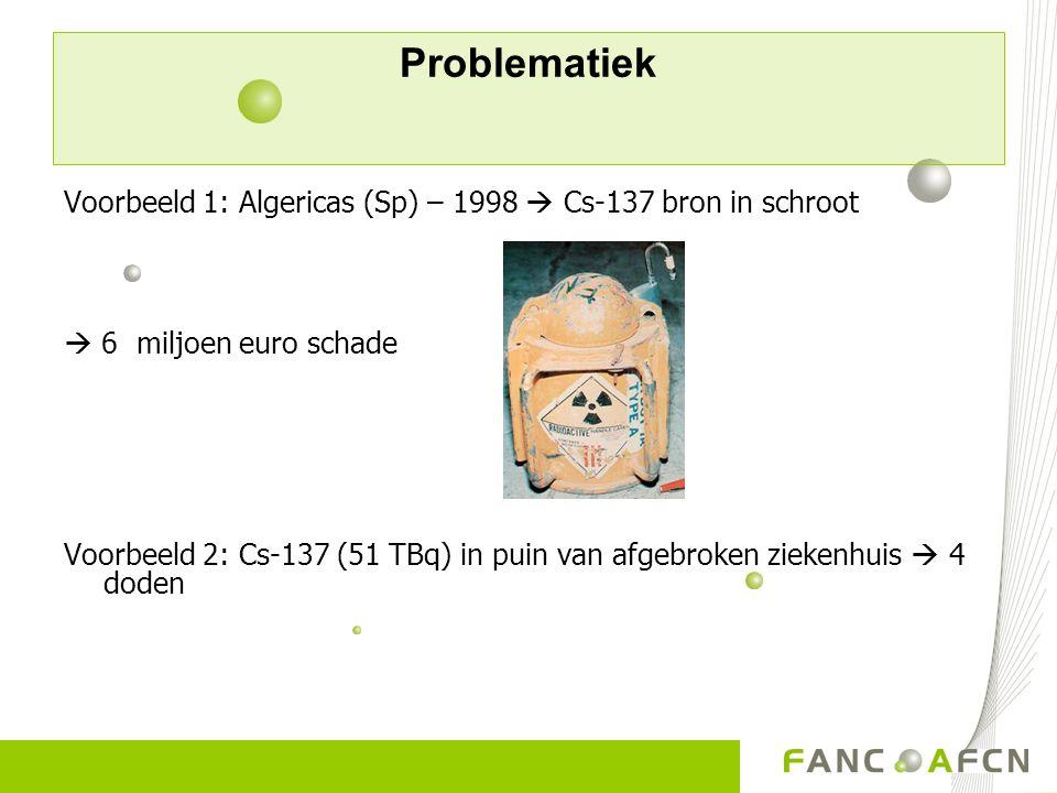 Problematiek Voorbeeld 1: Algericas (Sp) – 1998  Cs-137 bron in schroot  6 miljoen euro schade Voorbeeld 2: Cs-137 (51 TBq) in puin van afgebroken z