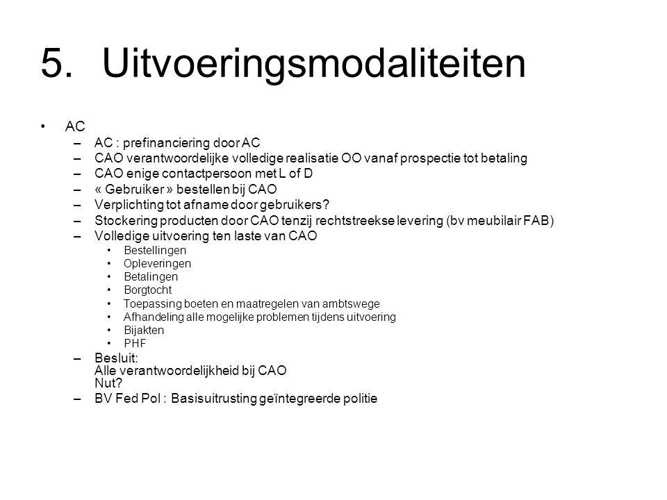 5.Uitvoeringsmodaliteiten AC –AC : prefinanciering door AC –CAO verantwoordelijke volledige realisatie OO vanaf prospectie tot betaling –CAO enige contactpersoon met L of D –« Gebruiker » bestellen bij CAO –Verplichting tot afname door gebruikers.