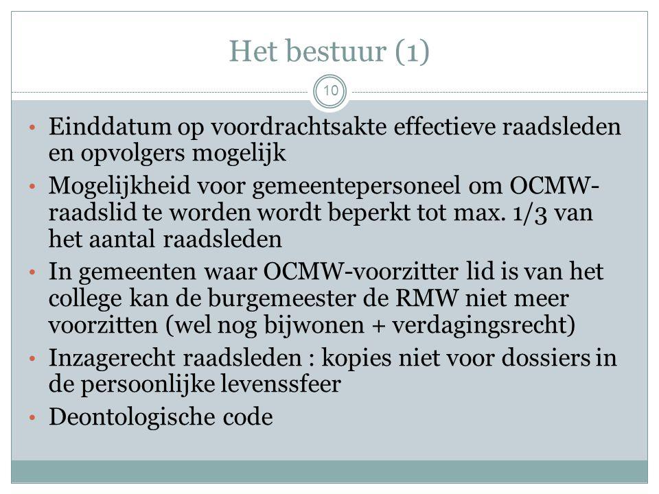 Het bestuur (1) Einddatum op voordrachtsakte effectieve raadsleden en opvolgers mogelijk Mogelijkheid voor gemeentepersoneel om OCMW- raadslid te worden wordt beperkt tot max.