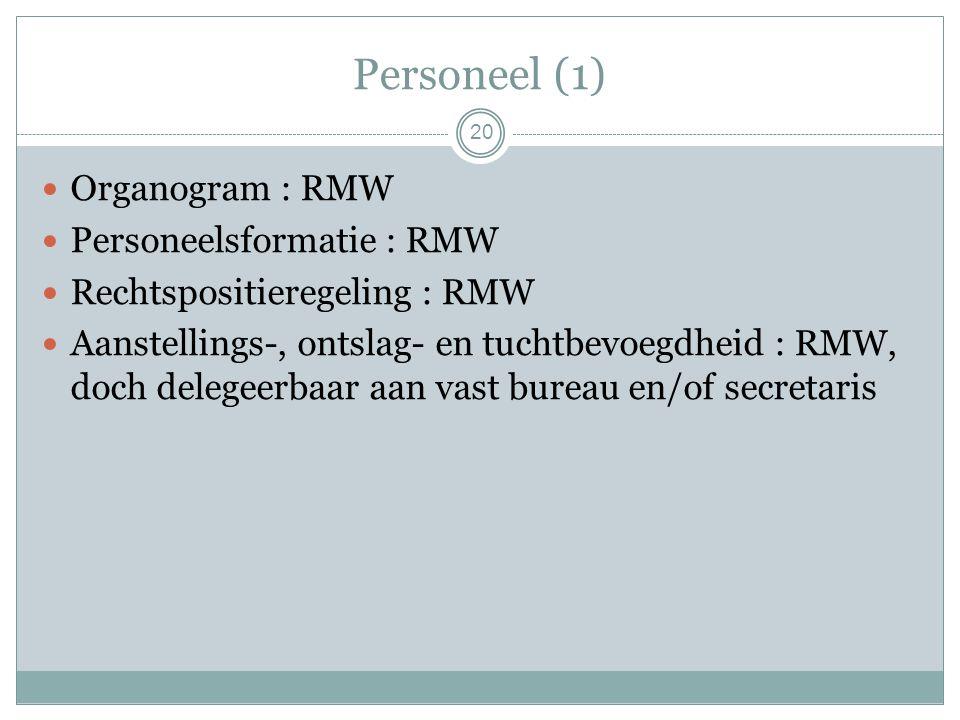 Personeel (1) Organogram : RMW Personeelsformatie : RMW Rechtspositieregeling : RMW Aanstellings-, ontslag- en tuchtbevoegdheid : RMW, doch delegeerbaar aan vast bureau en/of secretaris 20