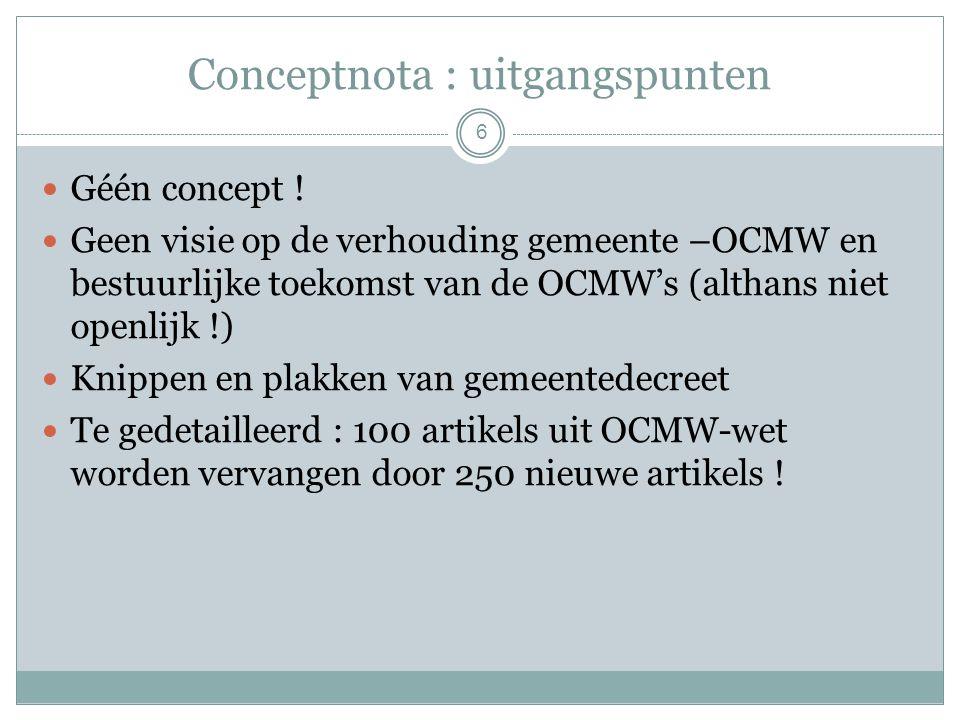 Conceptnota : uitgangspunten Géén concept .