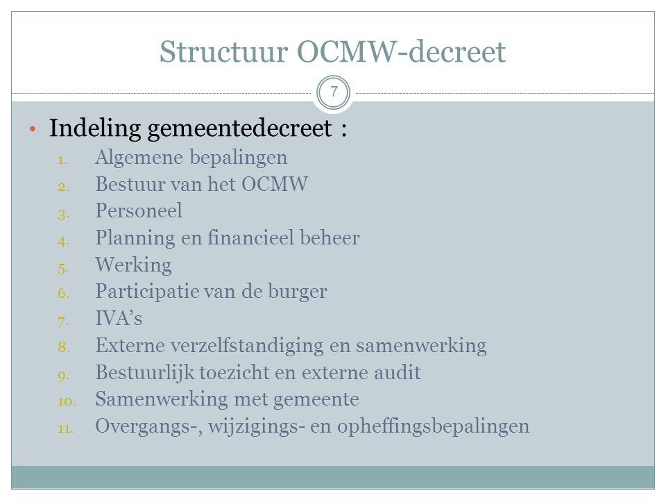 Structuur OCMW-decreet Indeling gemeentedecreet : 1.
