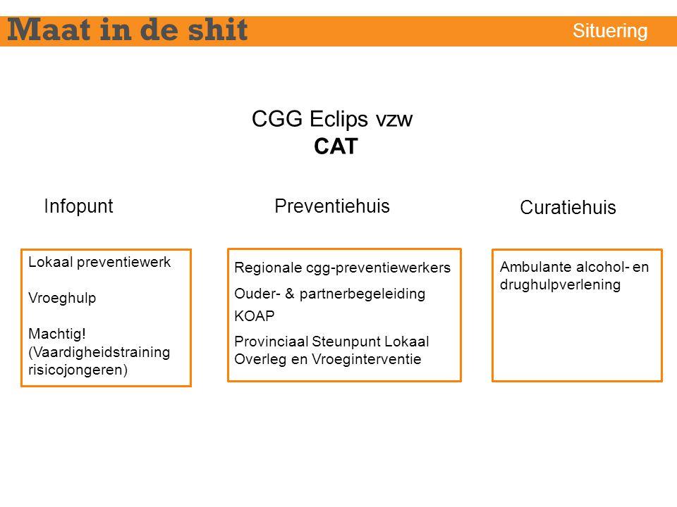 CGG Eclips vzw CAT InfopuntPreventiehuis Curatiehuis Lokaal preventiewerk Vroeghulp Machtig! (Vaardigheidstraining risicojongeren) Ambulante alcohol-