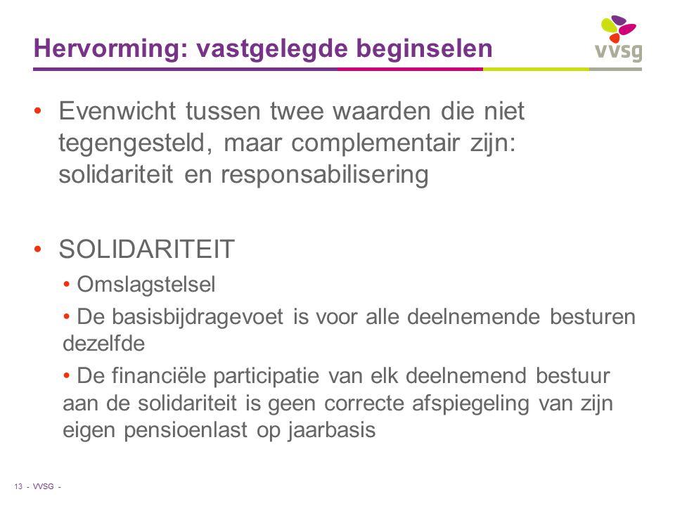 VVSG - Hervorming: vastgelegde beginselen Evenwicht tussen twee waarden die niet tegengesteld, maar complementair zijn: solidariteit en responsabilise