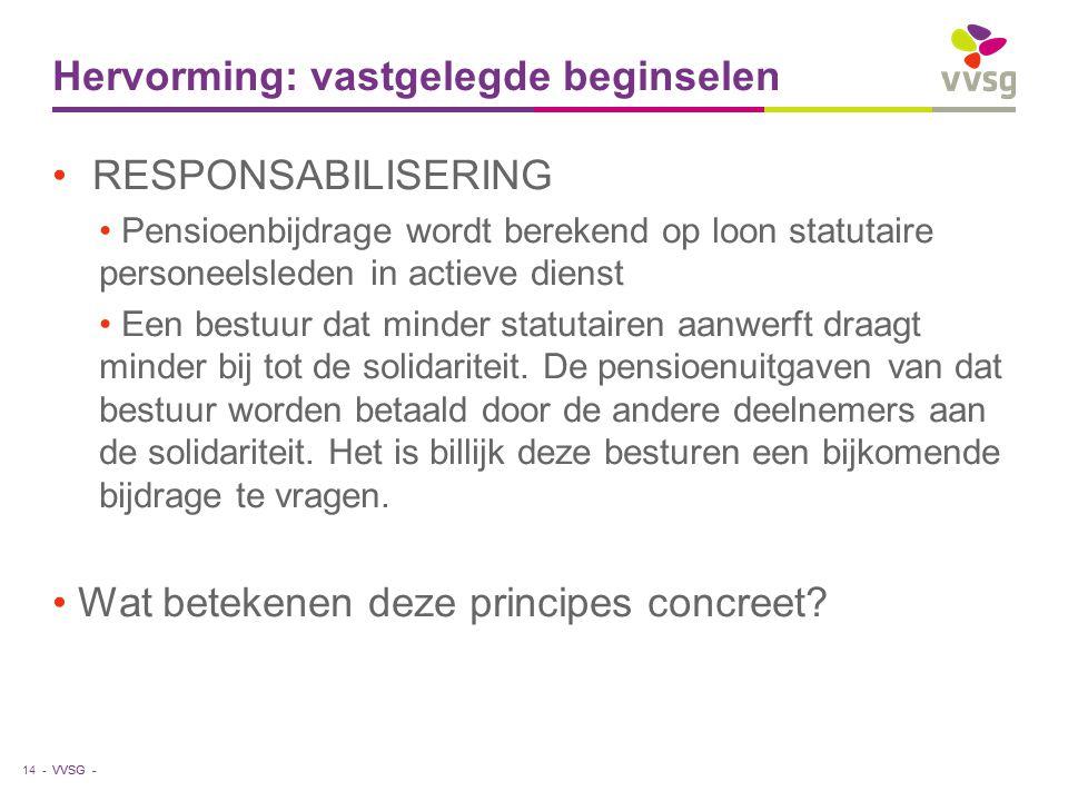 VVSG - Hervorming: vastgelegde beginselen RESPONSABILISERING Pensioenbijdrage wordt berekend op loon statutaire personeelsleden in actieve dienst Een