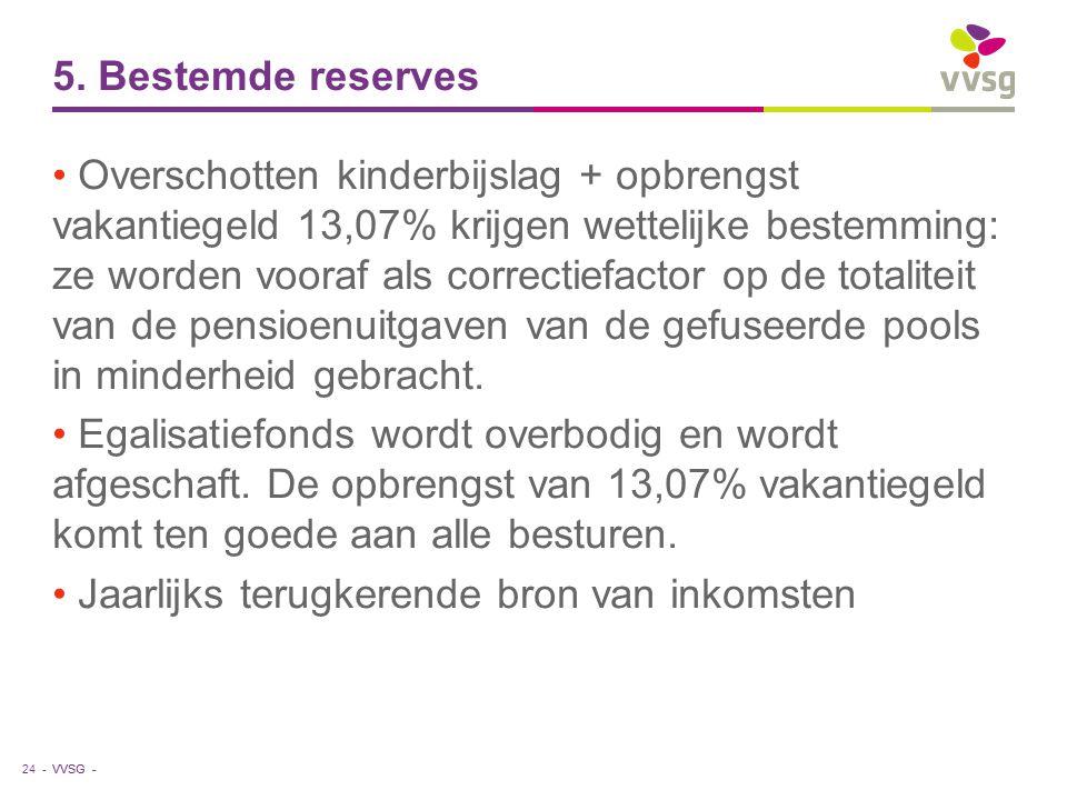 VVSG - 5. Bestemde reserves Overschotten kinderbijslag + opbrengst vakantiegeld 13,07% krijgen wettelijke bestemming: ze worden vooraf als correctiefa