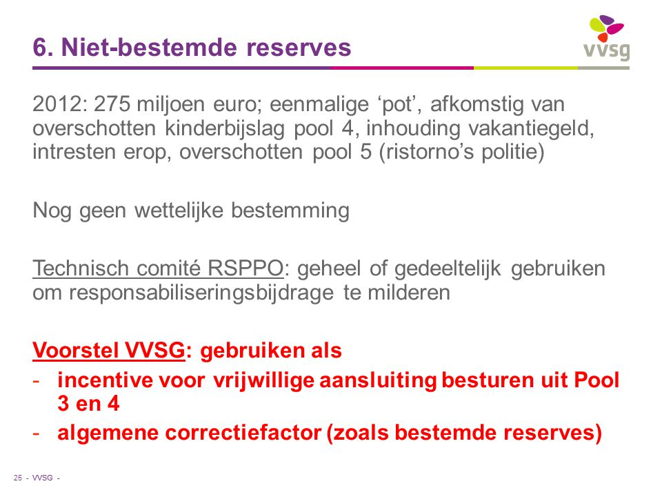 VVSG - 6. Niet-bestemde reserves 2012: 275 miljoen euro; eenmalige 'pot', afkomstig van overschotten kinderbijslag pool 4, inhouding vakantiegeld, int