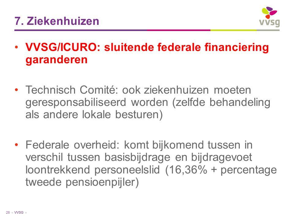 VVSG - 7. Ziekenhuizen VVSG/ICURO: sluitende federale financiering garanderen Technisch Comité: ook ziekenhuizen moeten geresponsabiliseerd worden (ze