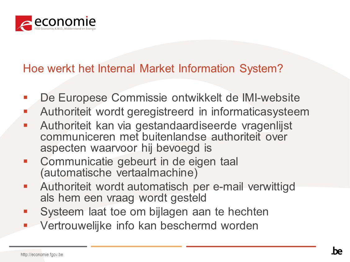 http://economie.fgov.be Hoe werkt het Internal Market Information System.