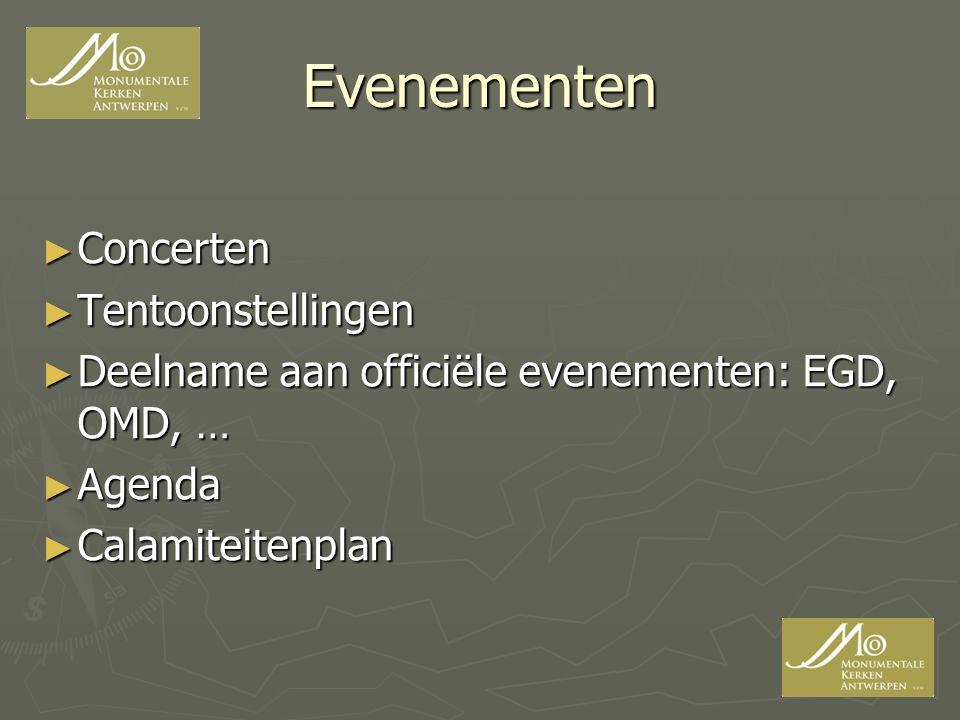 Evenementen ► Concerten ► Tentoonstellingen ► Deelname aan officiële evenementen: EGD, OMD, … ► Agenda ► Calamiteitenplan