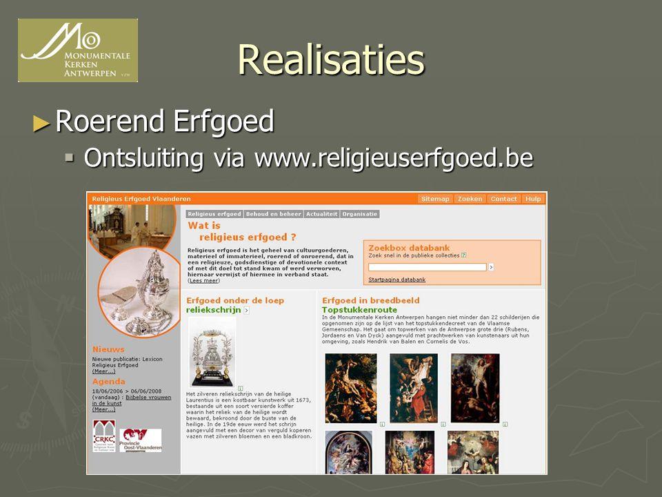 Realisaties ► Roerend Erfgoed  Ontsluiting via www.religieuserfgoed.be
