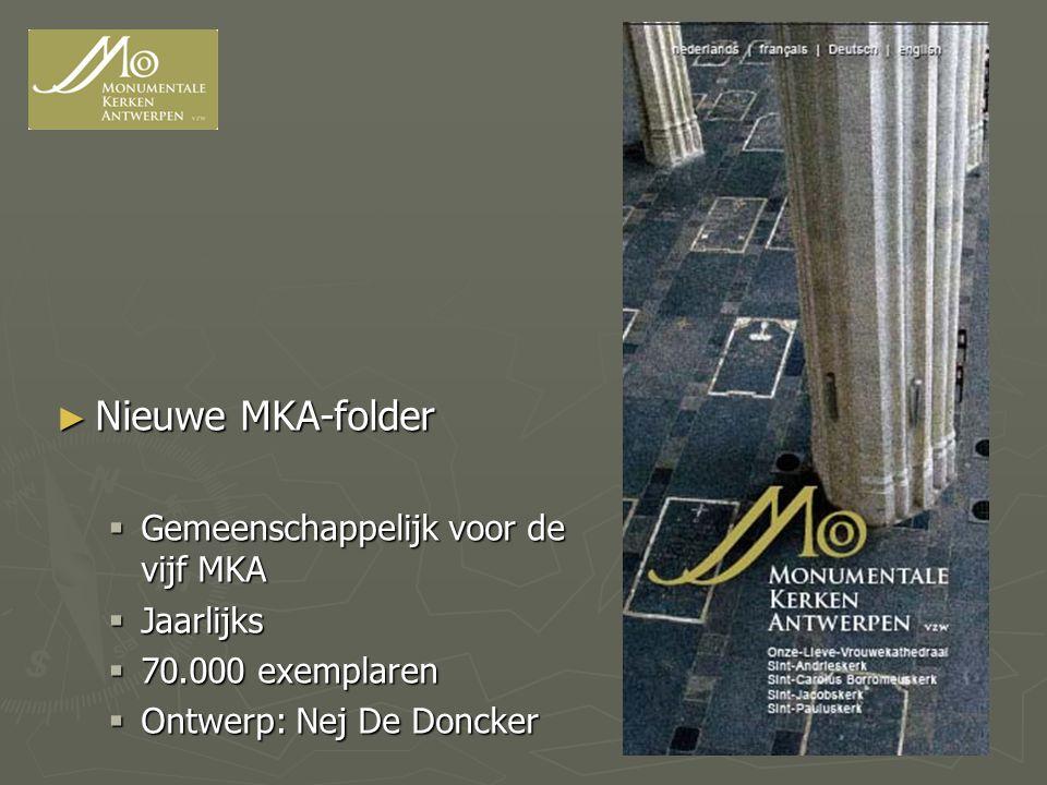 ► Nieuwe MKA-folder  Gemeenschappelijk voor de vijf MKA  Jaarlijks  70.000 exemplaren  Ontwerp: Nej De Doncker
