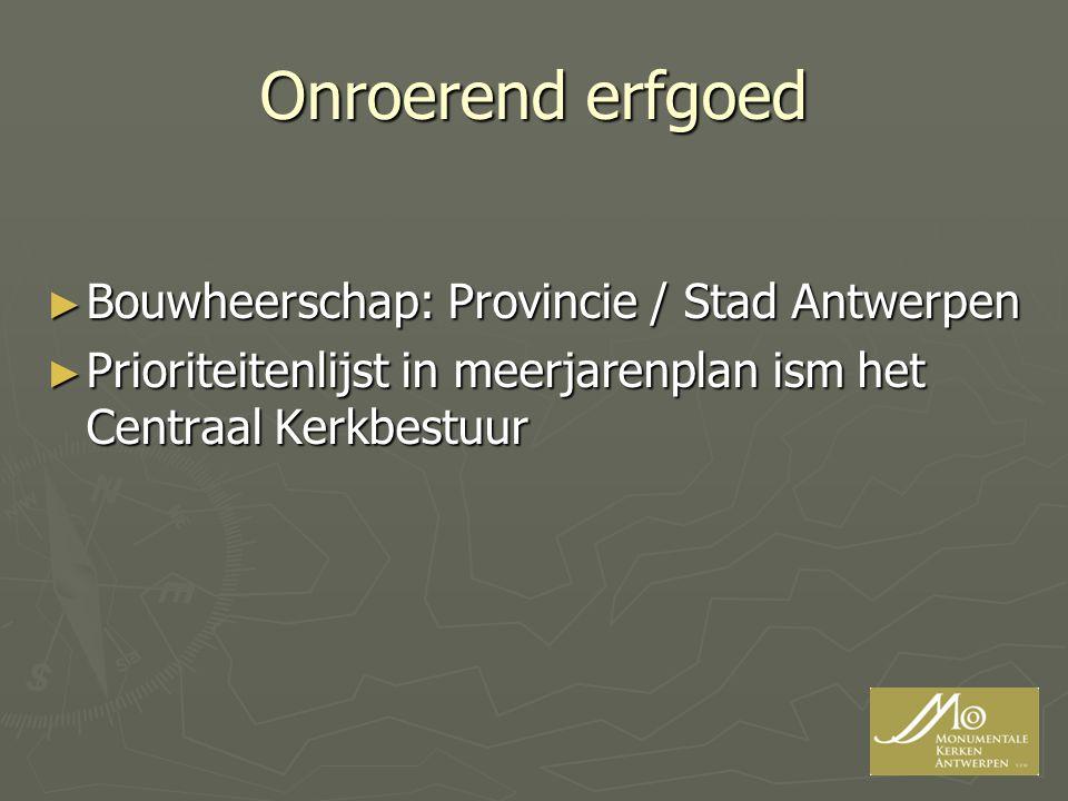 Onroerend erfgoed ► Bouwheerschap: Provincie / Stad Antwerpen ► Prioriteitenlijst in meerjarenplan ism het Centraal Kerkbestuur