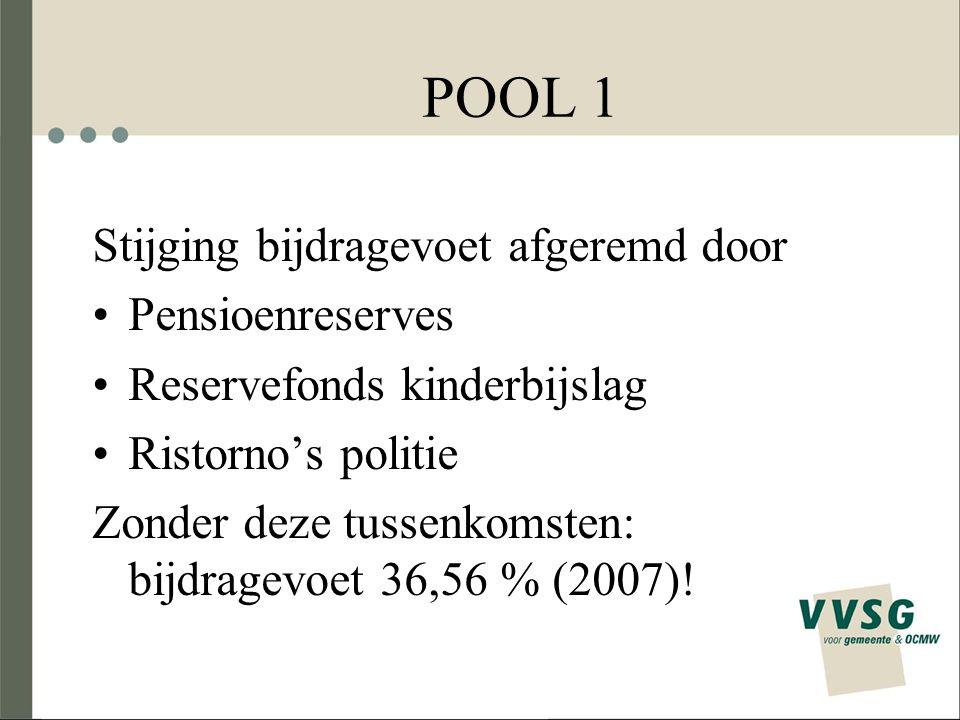 Overzicht pensioenreserves (1) Reserve pool 1: opgebouwd met overschot opbrengst pensioenbijdrage: 700 miljoen euro (2009) Ristorno's pool 5 (politie): opgebouwd met overschot opbrengst pensioenbijdrage –154 miljoen euro (2009), 122 miljoen euro (2010), 89 miljoen euro (2011), 54 miljoen euro (2012), 19 miljoen euro (2013), niets (2014) –Gaan naar de 4 overige pools voor financiering politiepersoneel gepensioneerd vóór 2001, in verhouding tot loonmassa 12