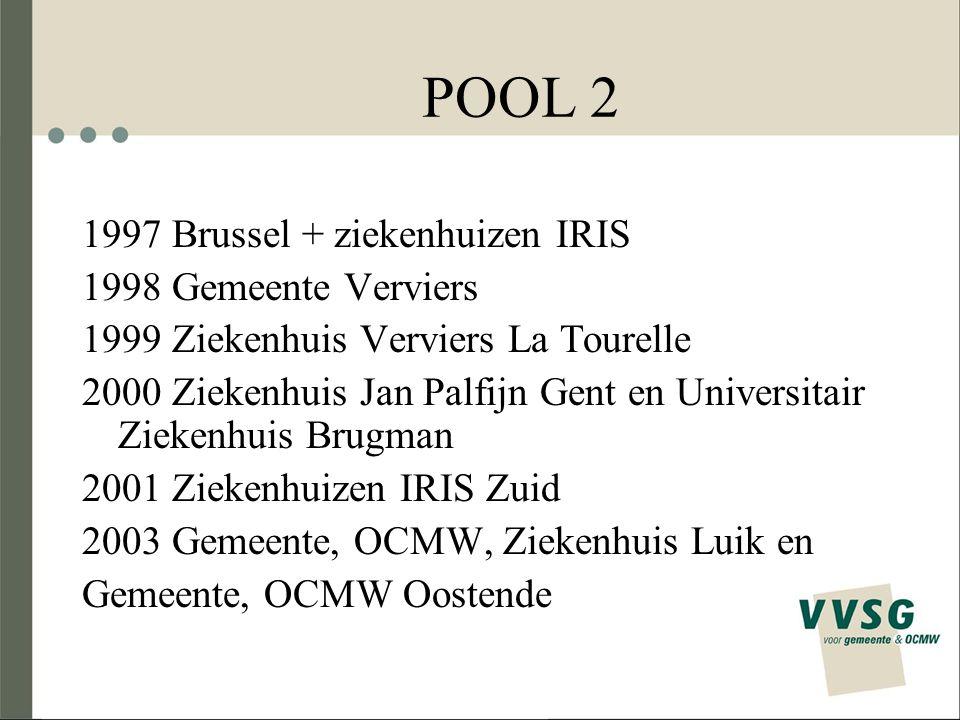 POOL 2 2005 Gemeente, OCMW Gent en Gemeente, OCMW, Havenbedrijf Antwerpen en Gemeente, OCMW Turnhout 2006 IMOG en Gemeente, OCMW Tienen 2007 Provincie Luik en Gemeente Jette 2008 Provincie Antwerpen en Ziekenhuis Oost-Limburg AV