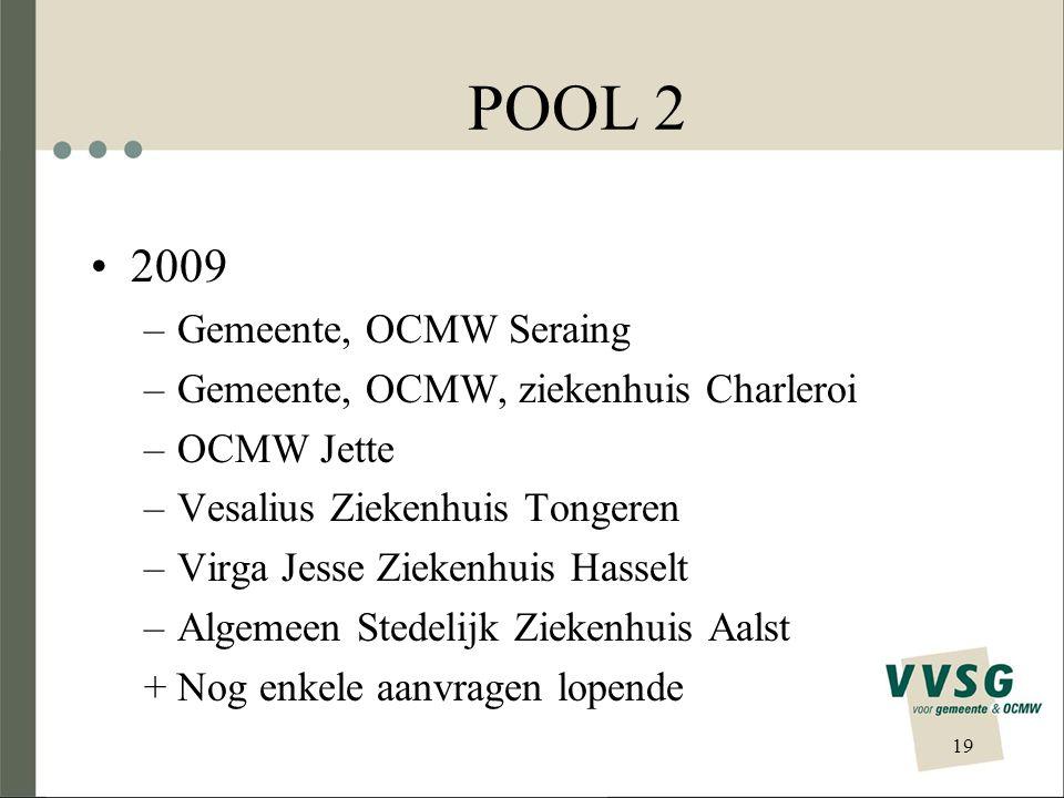 POOL 2 2009 –Gemeente, OCMW Seraing –Gemeente, OCMW, ziekenhuis Charleroi –OCMW Jette –Vesalius Ziekenhuis Tongeren –Virga Jesse Ziekenhuis Hasselt –A