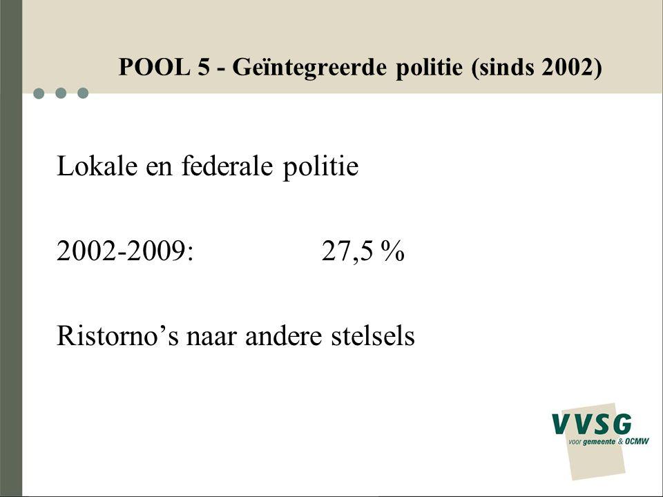 34 PensioenstelselBrussels Hoofdstedelijk Gewest Vlaams Gewest Waals Gewest TOTAAL Gemeenschappelijk stelsel 136425571.212 Nieuwe aangeslotenen 10181240 Voorzorgsinstelling 285619103 Eigen pensioenfonds 97622 Pensioenstelsel politie 611872196 Geen vastbenoemden 77570152 TOTAAL 739167361.725 Spreiding over de pools Aantal werkgevers per gewest en per pensioenstelsel (2008)