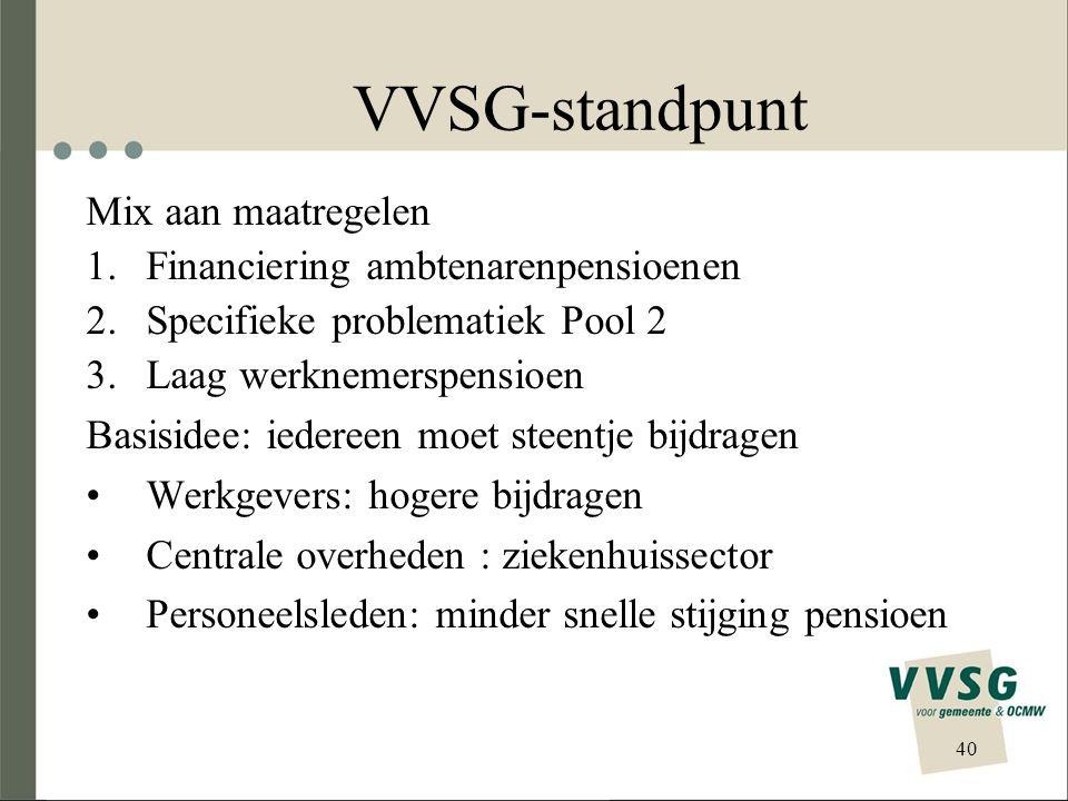 VVSG-standpunt Mix aan maatregelen 1.Financiering ambtenarenpensioenen 2.Specifieke problematiek Pool 2 3.Laag werknemerspensioen Basisidee: iedereen