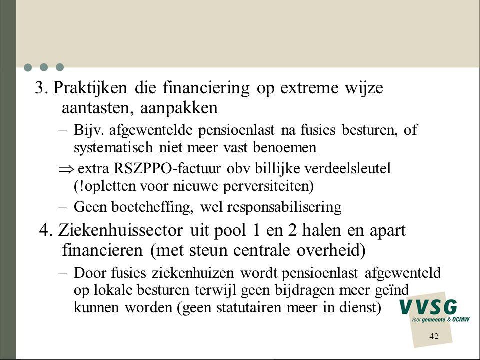 3. Praktijken die financiering op extreme wijze aantasten, aanpakken –Bijv. afgewentelde pensioenlast na fusies besturen, of systematisch niet meer va