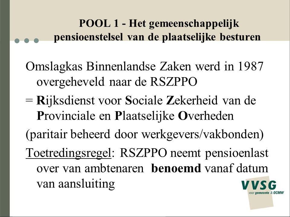 POOL 1 - Het gemeenschappelijk pensioenstelsel van de plaatselijke besturen Omslagkas Binnenlandse Zaken werd in 1987 overgeheveld naar de RSZPPO = Ri