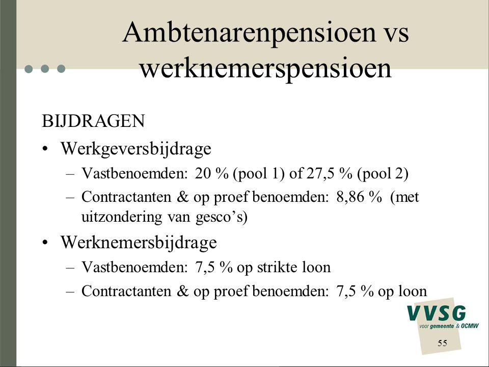 Ambtenarenpensioen vs werknemerspensioen BIJDRAGEN Werkgeversbijdrage –Vastbenoemden: 20 % (pool 1) of 27,5 % (pool 2) –Contractanten & op proef benoe