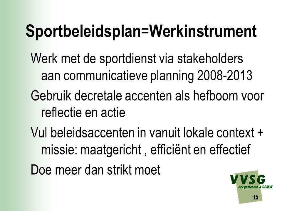 15 Sportbeleidsplan = Werkinstrument Werk met de sportdienst via stakeholders aan communicatieve planning 2008-2013 Gebruik decretale accenten als hefboom voor reflectie en actie Vul beleidsaccenten in vanuit lokale context + missie: maatgericht, efficiënt en effectief Doe meer dan strikt moet