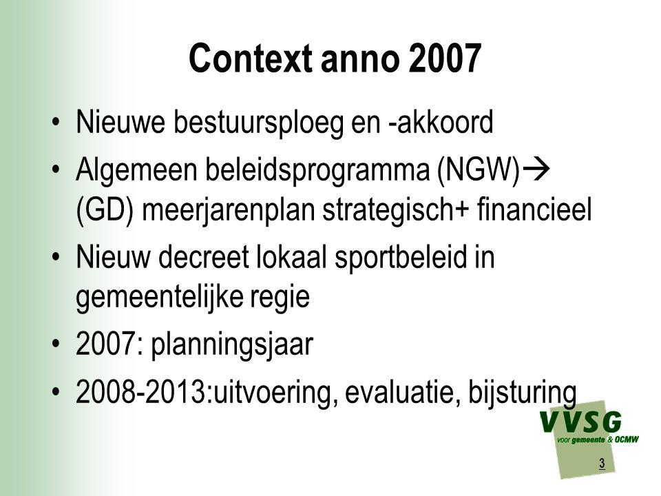 3 Context anno 2007 Nieuwe bestuursploeg en -akkoord Algemeen beleidsprogramma (NGW)  (GD) meerjarenplan strategisch+ financieel Nieuw decreet lokaal sportbeleid in gemeentelijke regie 2007: planningsjaar 2008-2013:uitvoering, evaluatie, bijsturing