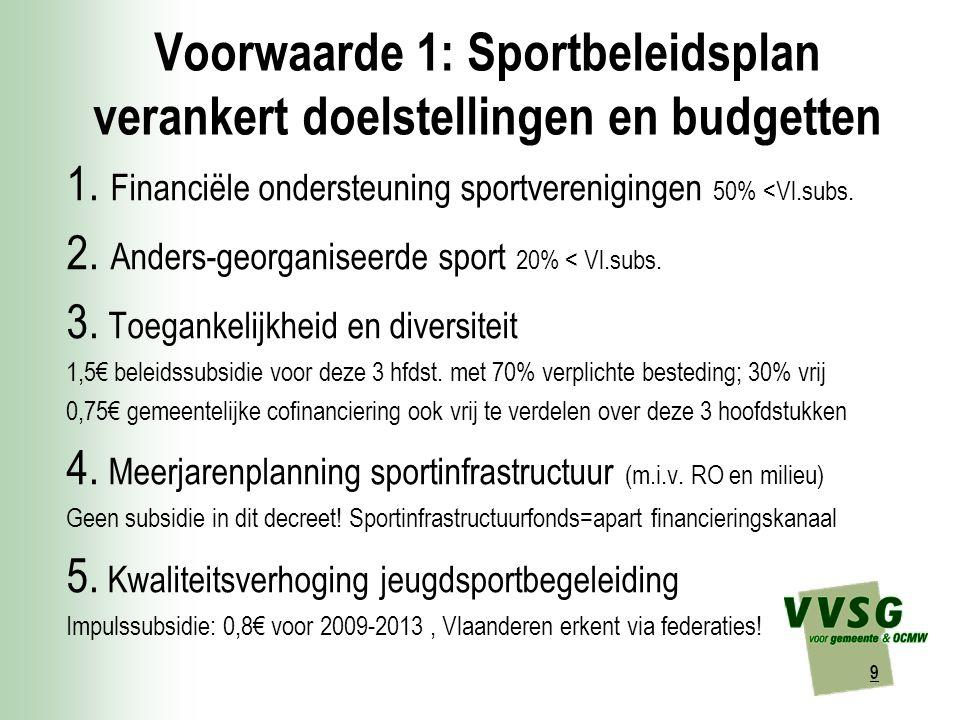 9 Voorwaarde 1: Sportbeleidsplan verankert doelstellingen en budgetten 1.