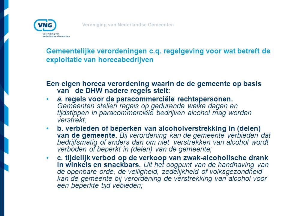 Vereniging van Nederlandse Gemeenten Gemeentelijke verordeningen c.q.