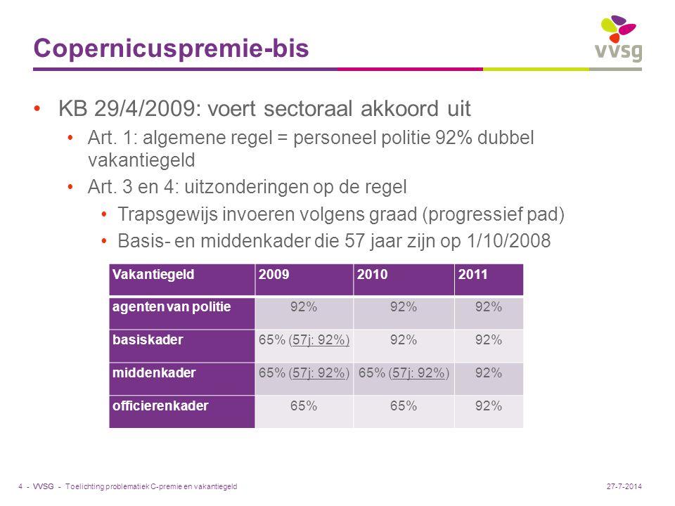 VVSG - Copernicuspremie-bis KB 29/4/2009: voert sectoraal akkoord uit Art. 1: algemene regel = personeel politie 92% dubbel vakantiegeld Art. 3 en 4: