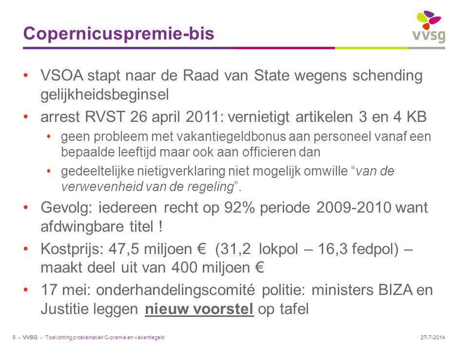 VVSG - Copernicuspremie-bis VSOA stapt naar de Raad van State wegens schending gelijkheidsbeginsel arrest RVST 26 april 2011: vernietigt artikelen 3 e