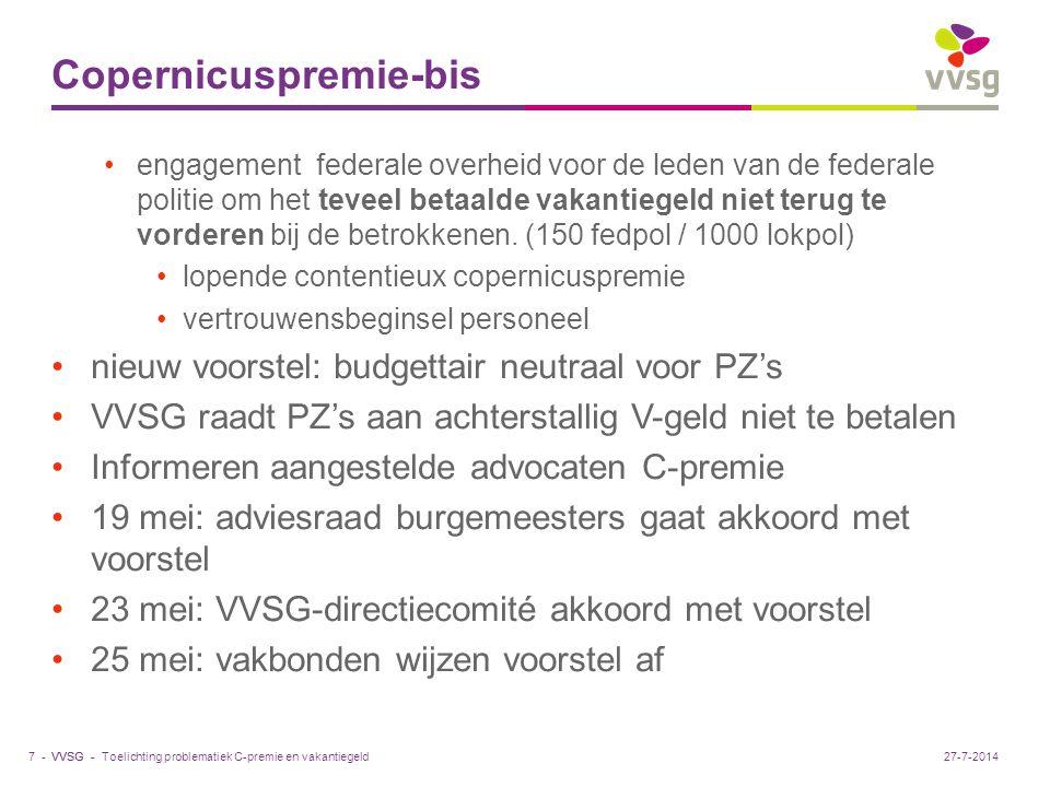 VVSG - Copernicuspremie-bis engagement federale overheid voor de leden van de federale politie om het teveel betaalde vakantiegeld niet terug te vorde